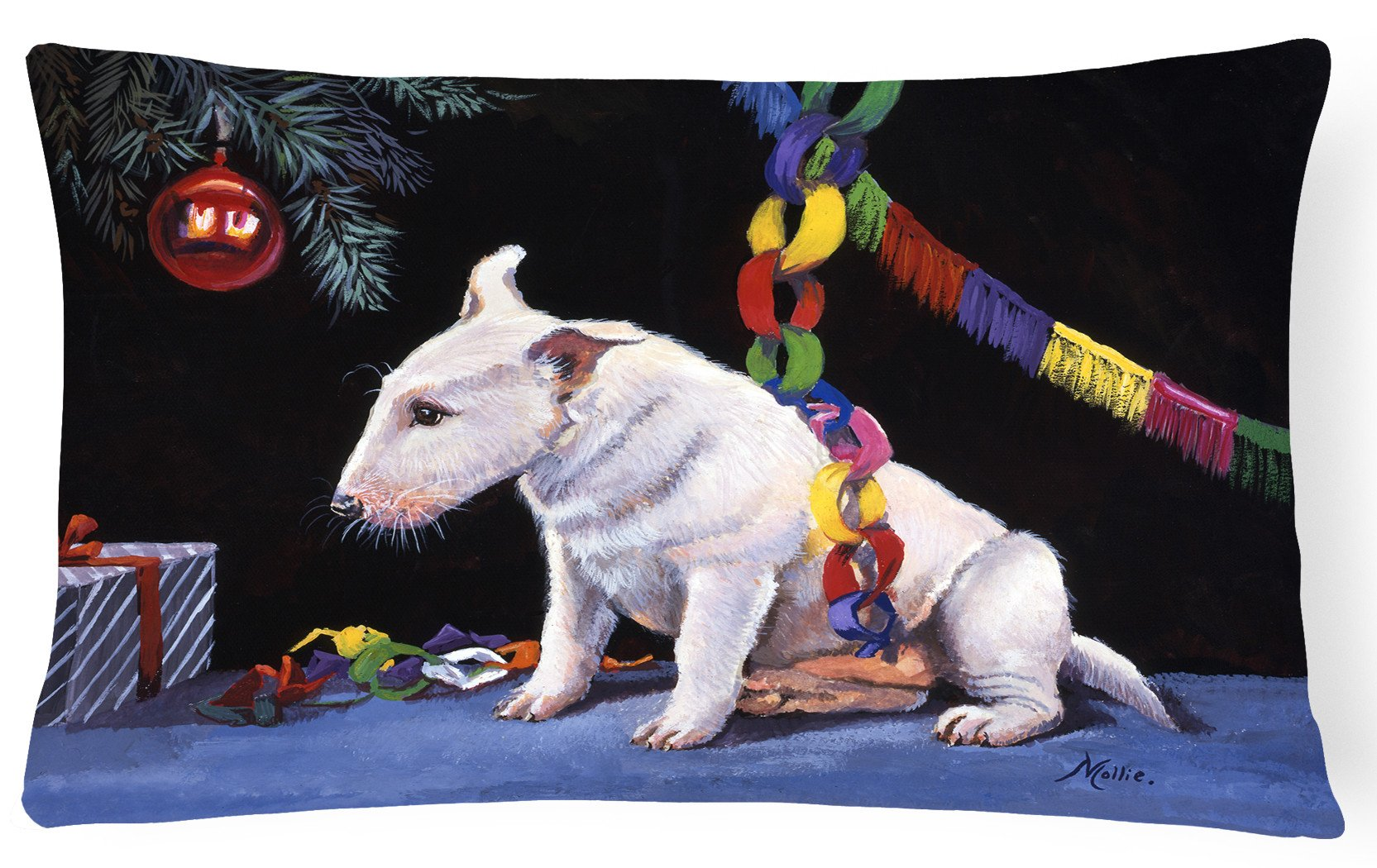 Bull Terrier under the Christmas Tree Fabric Decorative Pillow FMF0012PW1216 by Caroline's Treasures