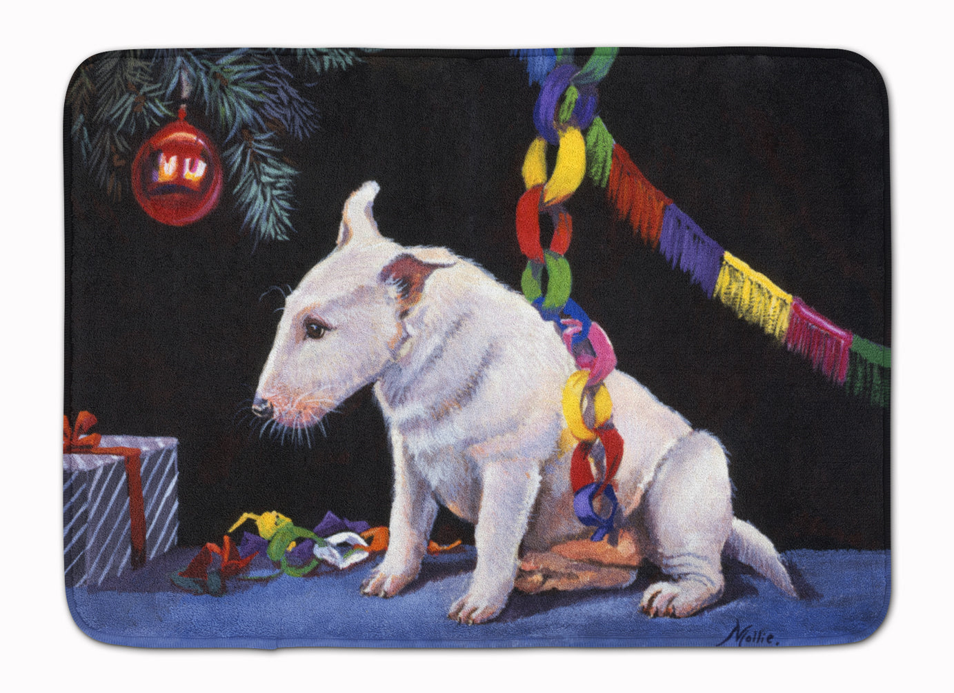 Bull Terrier under the Christmas Tree Machine Washable Memory Foam Mat FMF0012RUG by Caroline's Treasures