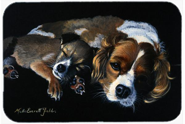Cozy Pals with Cavalier Spaniel Glass Cutting Board Large FMF0022LCB - the-store.com