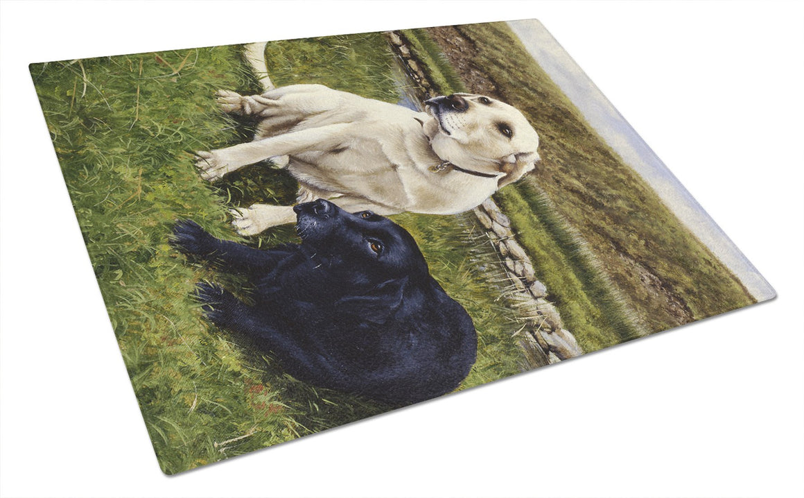 Buy this Yellow and Black Labradors Glass Cutting Board Large FRF0018LCB