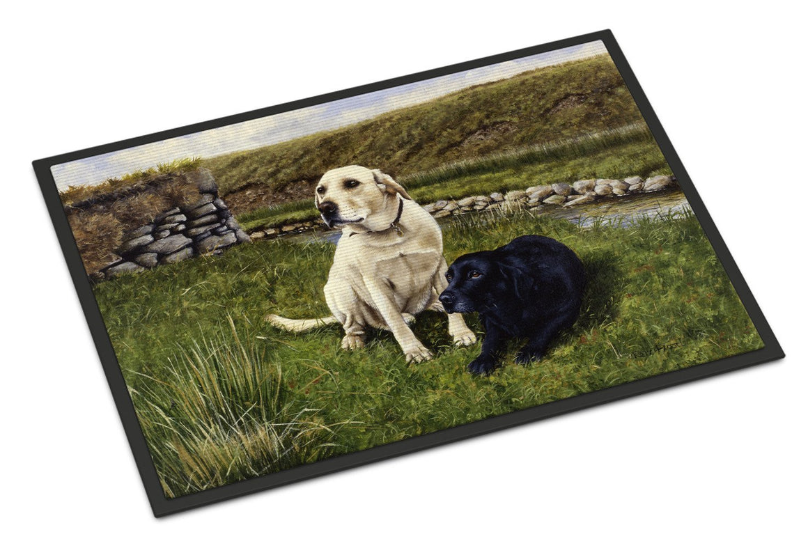 Buy this Yellow and Black Labradors Indoor or Outdoor Mat 18x27 FRF0018MAT