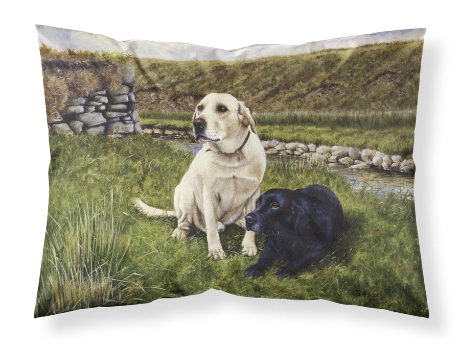 Buy this Yellow and Black Labradors Fabric Standard Pillowcase FRF0018PILLOWCASE