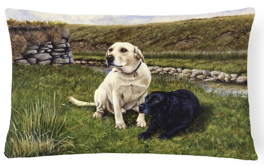 Buy this Yellow and Black Labradors Fabric Decorative Pillow FRF0018PW1216