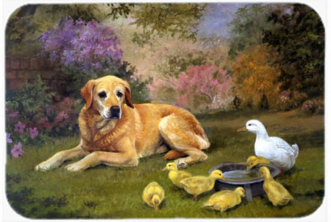 Buy this Yellow Labrador and Chicks Glass Cutting Board Large HEH0096LCB