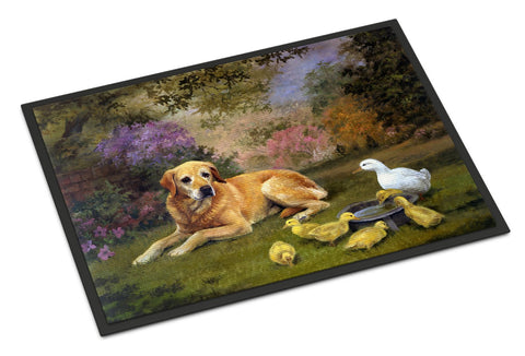 Buy this Yellow Labrador and Chicks Indoor or Outdoor Mat 18x27 HEH0096MAT