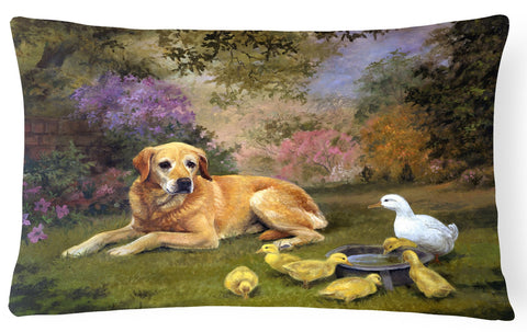 Buy this Yellow Labrador and Chicks Fabric Decorative Pillow HEH0096PW1216