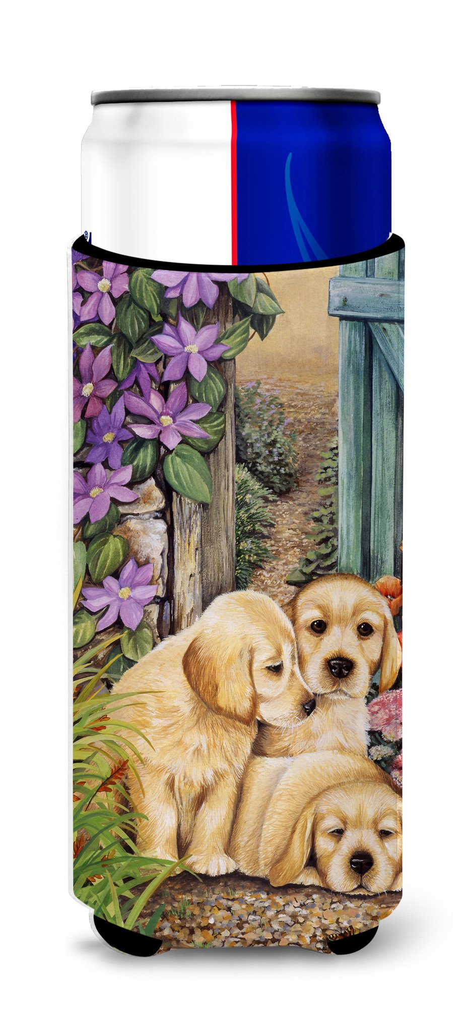Buy this Yellow Labrador Puppies by Lesley Hallas Ultra Beverage Insulators for slim cans HLH0418MUK