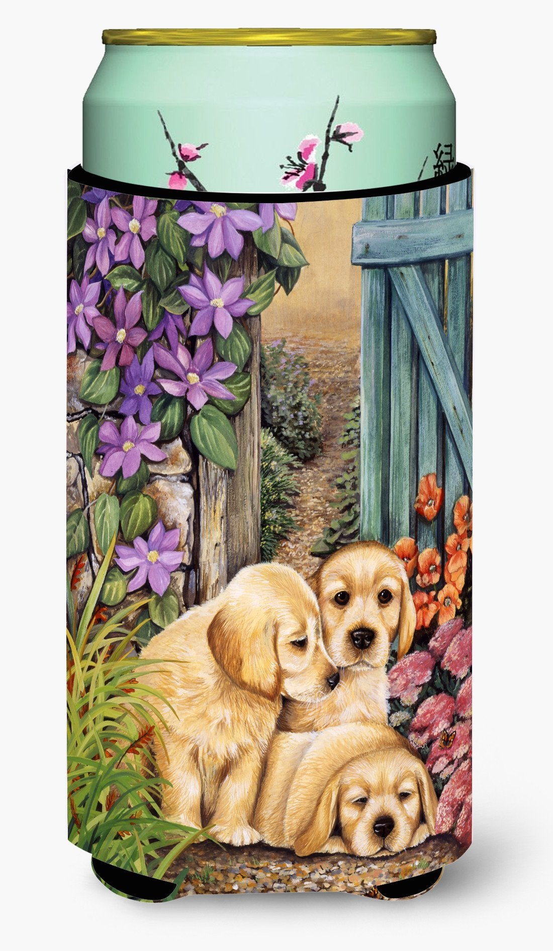 Buy this Yellow Labrador Puppies by Lesley Hallas Tall Boy Beverage Insulator Hugger HLH0418TBC