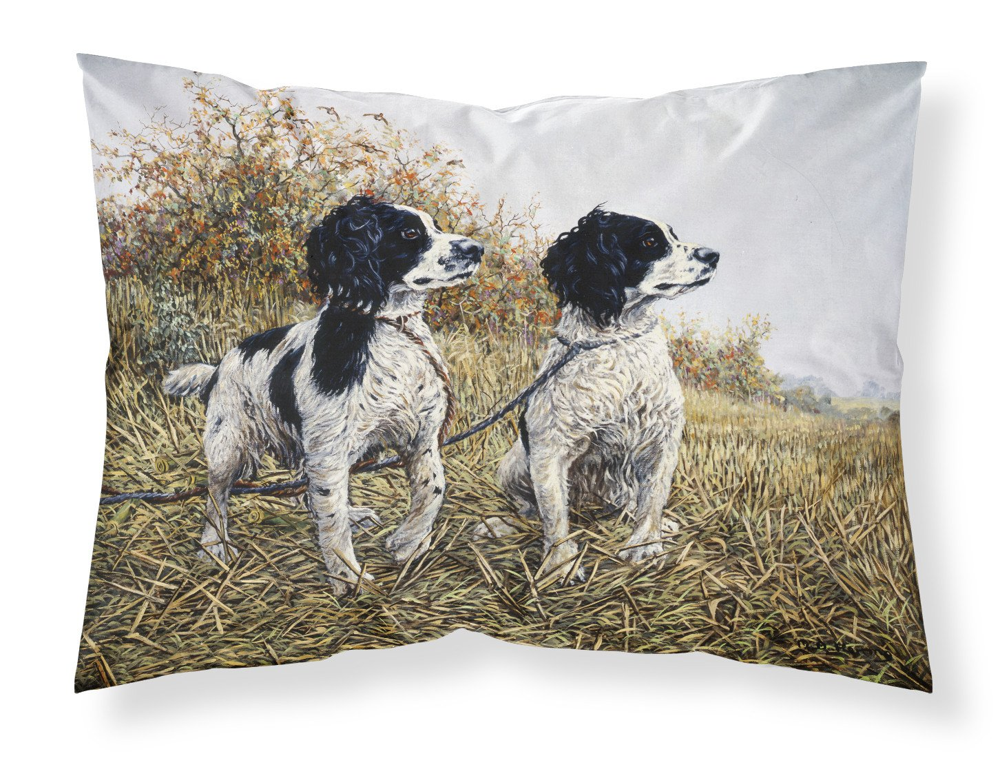 Two Springer Spaniels by Michael Herring Fabric Standard Pillowcase HMHE0001PILLOWCASE by Caroline's Treasures