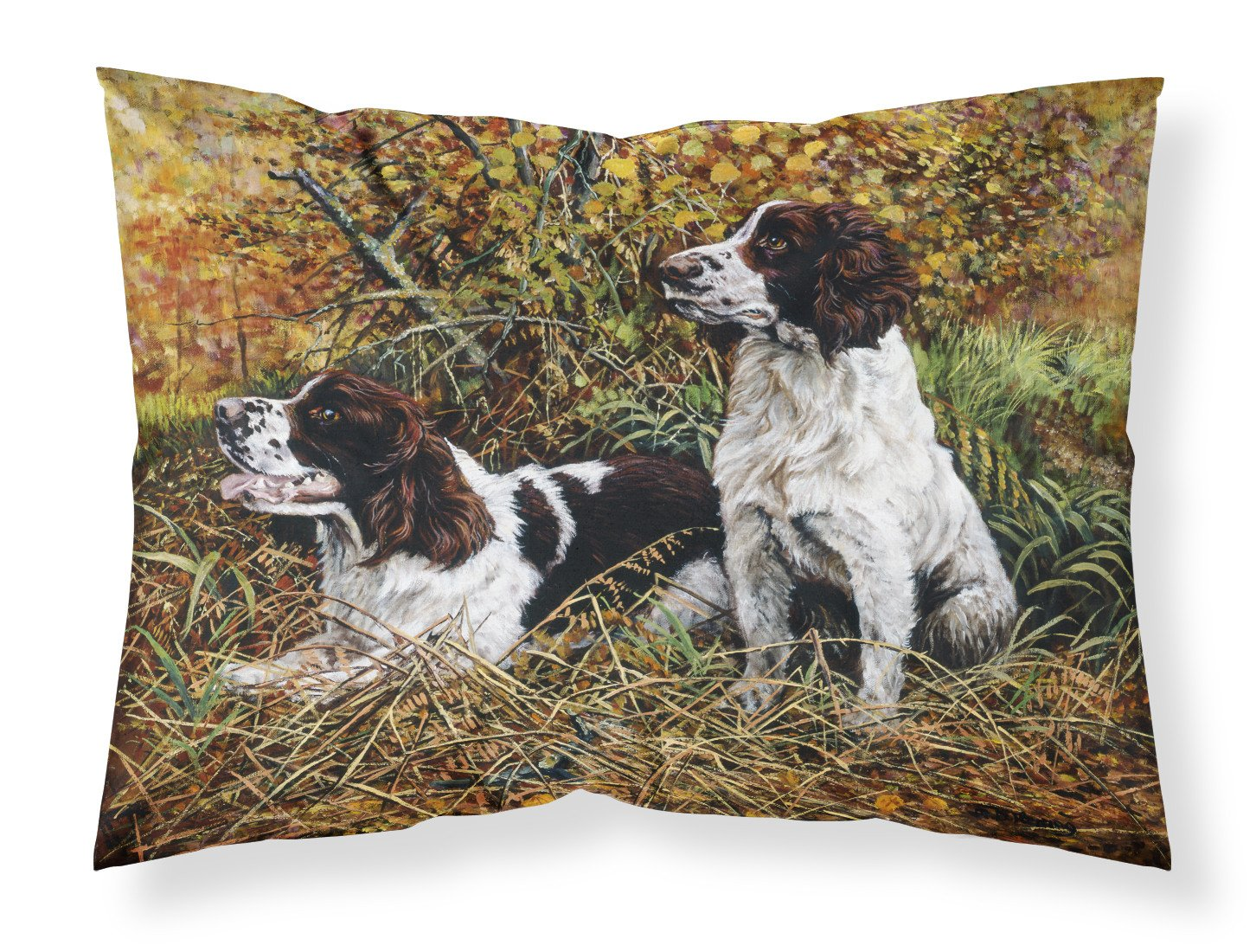 Two Springer Spaniels in the grasses Fabric Standard Pillowcase HMHE0002PILLOWCASE by Caroline's Treasures