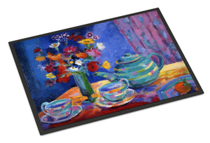 Buy this Blue Tea by Wendy Hoile Indoor or Outdoor Mat 24x36 HWH0010JMAT
