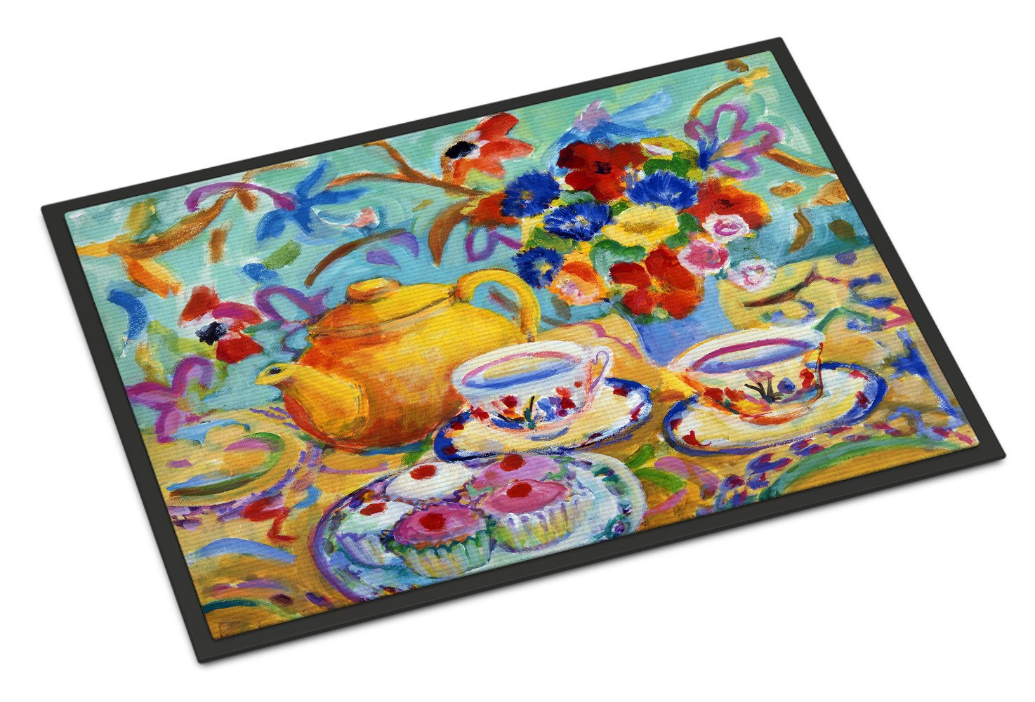 Buy this Teal Tea by Wendy Hoile Indoor or Outdoor Mat 18x27 HWH0011MAT