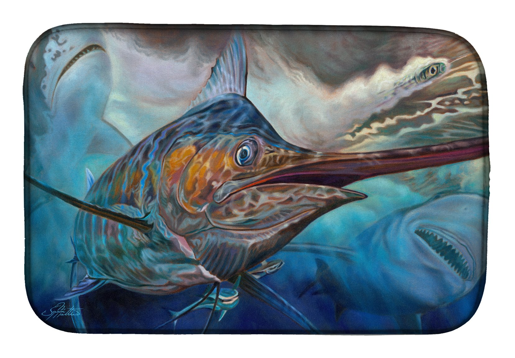 Buy this Running The Guantlet Blue Marlin Dish Drying Mat JMA2000DDM