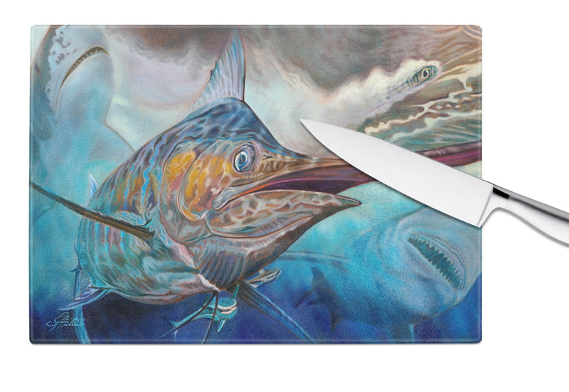 Buy this Running The Guantlet Blue Marlin Glass Cutting Board Large JMA2000LCB