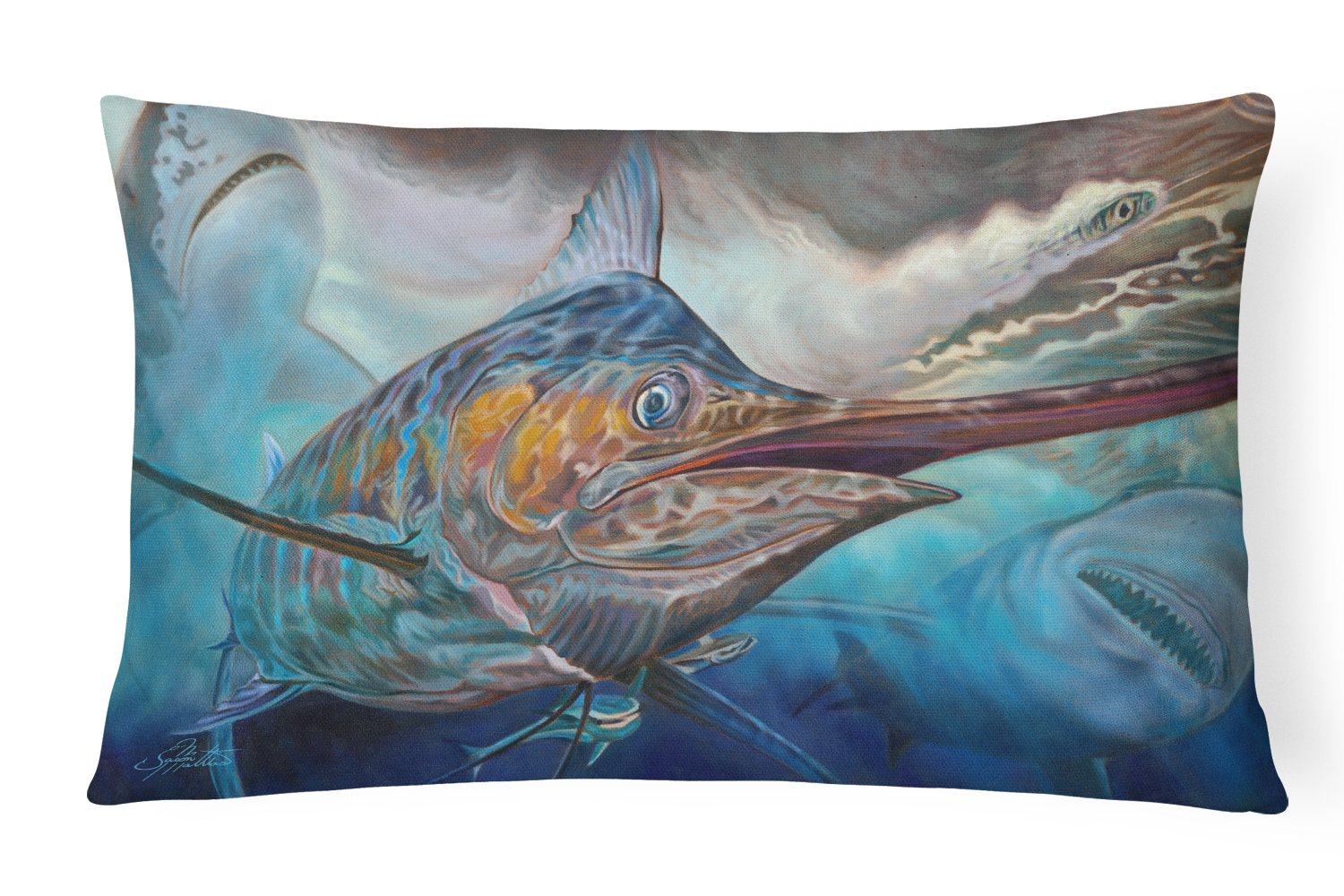 Buy this Running The Guantlet Blue Marlin Canvas Fabric Decorative Pillow JMA2000PW1216