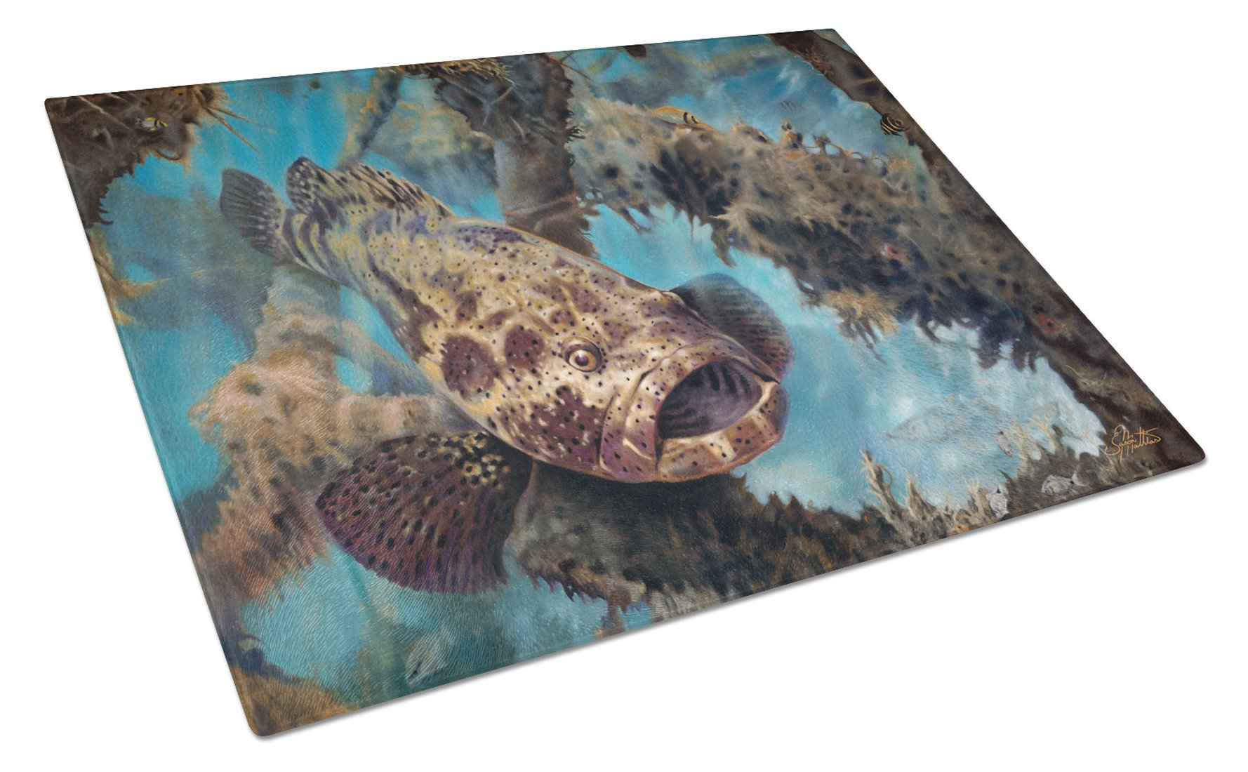 Buy this Golden Goliath Grouper Glass Cutting Board Large JMA2003LCB