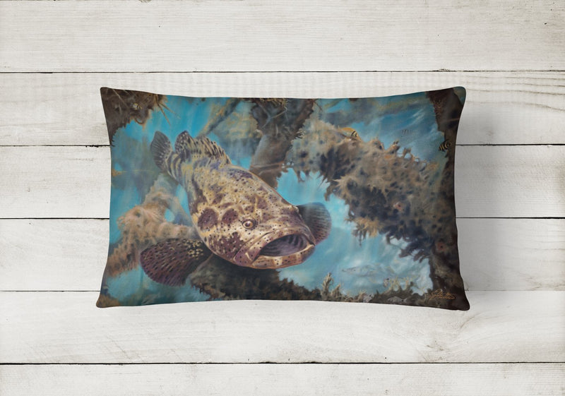 Buy this Golden Goliath Grouper Canvas Fabric Decorative Pillow JMA2003PW1216