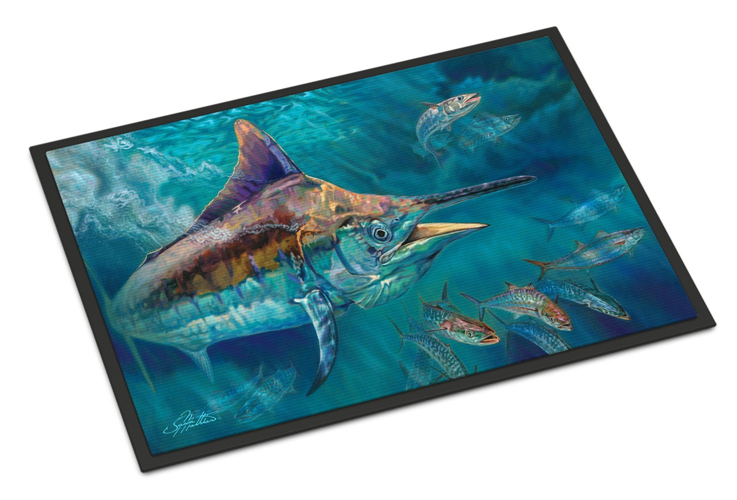 Liquid Metal Black Marlin Indoor or Outdoor Mat 24x36 JMA2005JMAT by Caroline's Treasures