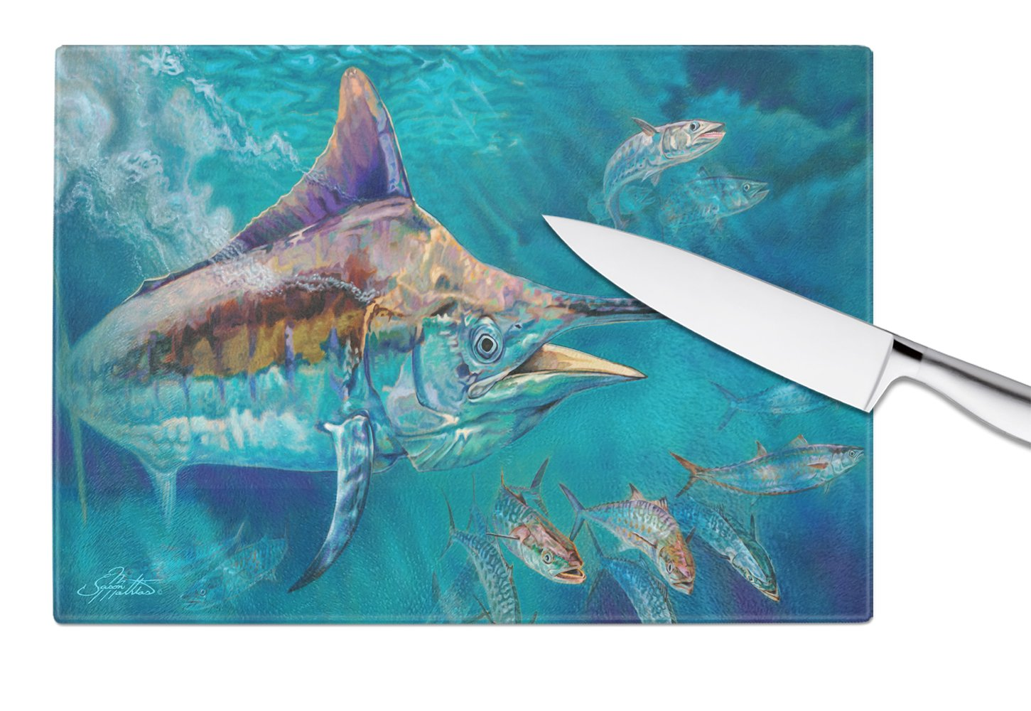 Liquid Metal Black Marlin Glass Cutting Board Large JMA2005LCB by Caroline's Treasures