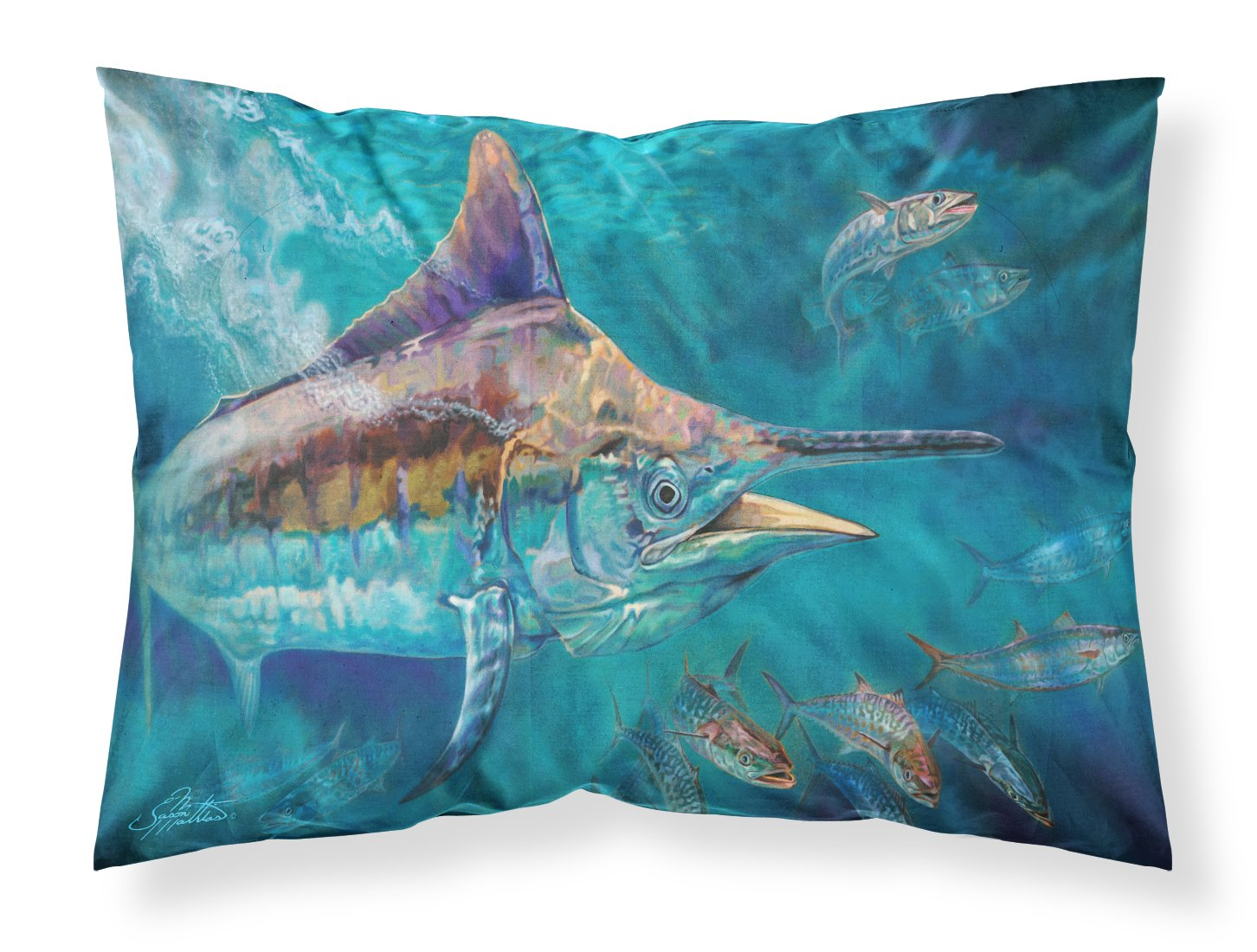 Liquid Metal Black Marlin Fabric Standard Pillowcase JMA2005PILLOWCASE by Caroline's Treasures