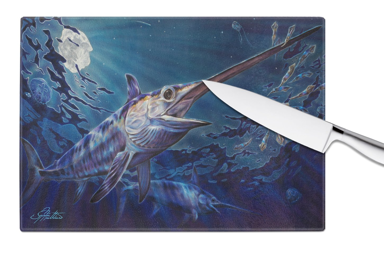 Prince Of Darkness Swordfish Glass Cutting Board Large JMA2006LCB by Caroline's Treasures