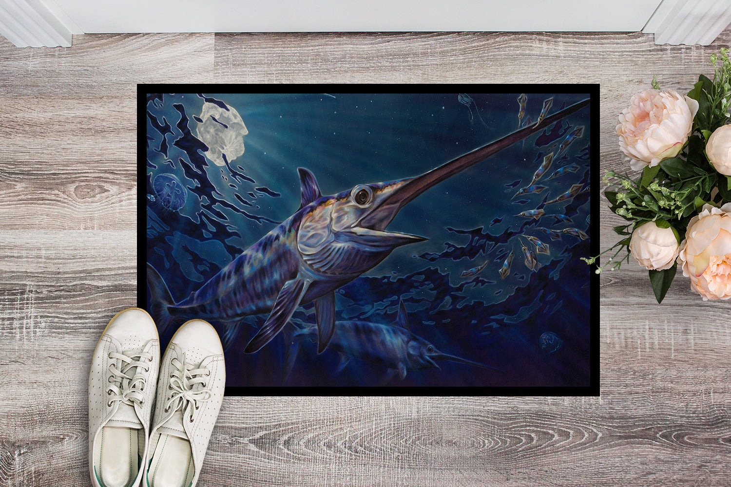 Prince Of Darkness Swordfish Indoor or Outdoor Mat 18x27 JMA2006MAT by Caroline's Treasures