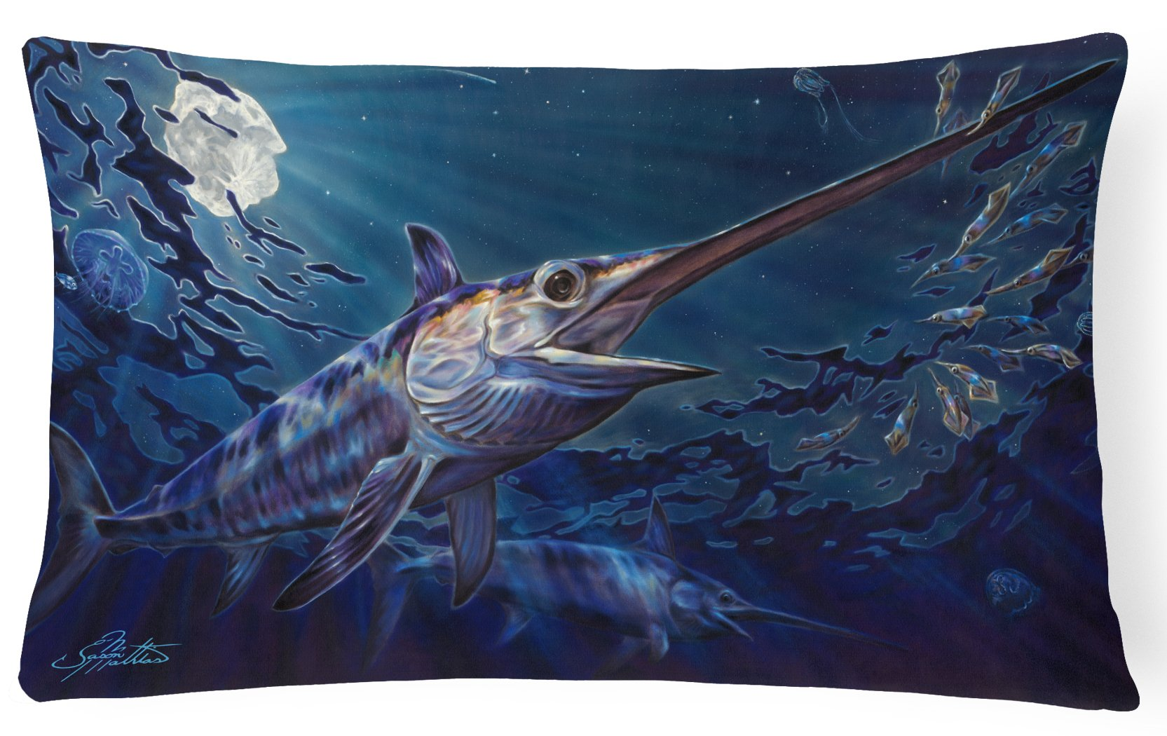 Prince Of Darkness Swordfish Canvas Fabric Decorative Pillow JMA2006PW1216 by Caroline's Treasures
