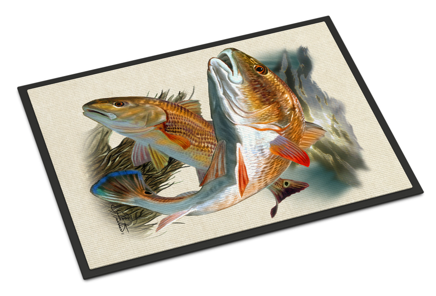 Red Fish Indoor or Outdoor Mat 18x27 JMA2007MAT by Caroline's Treasures