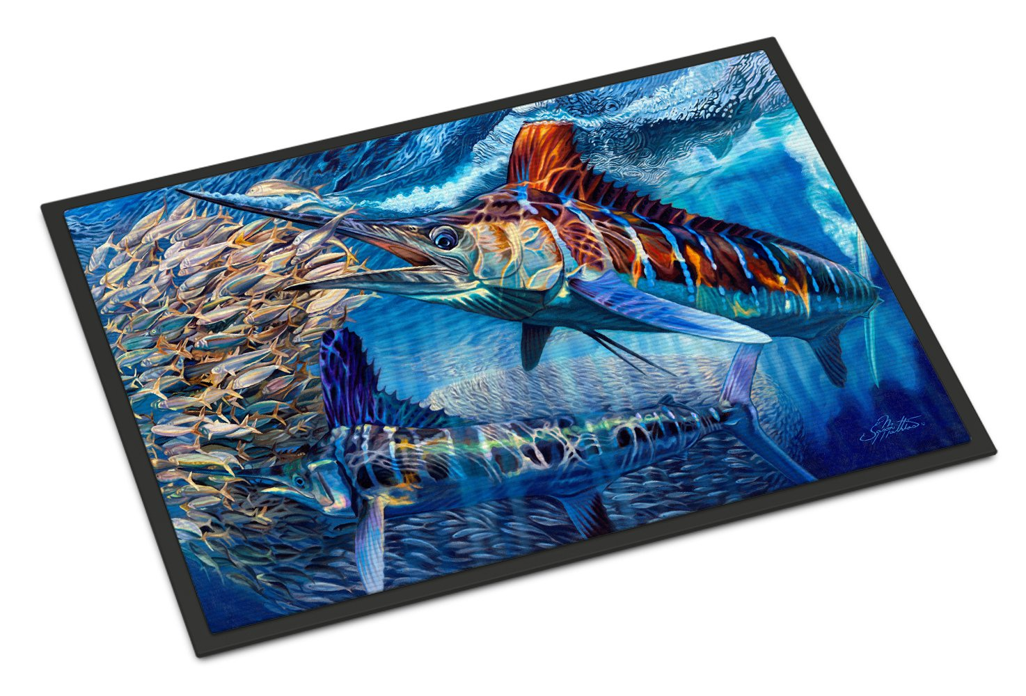 White Night White Marlin Indoor or Outdoor Mat 24x36 JMA2008JMAT by Caroline's Treasures
