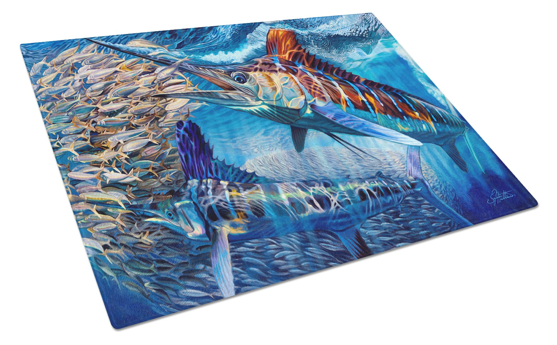 Buy this White Night White Marlin Glass Cutting Board Large JMA2008LCB