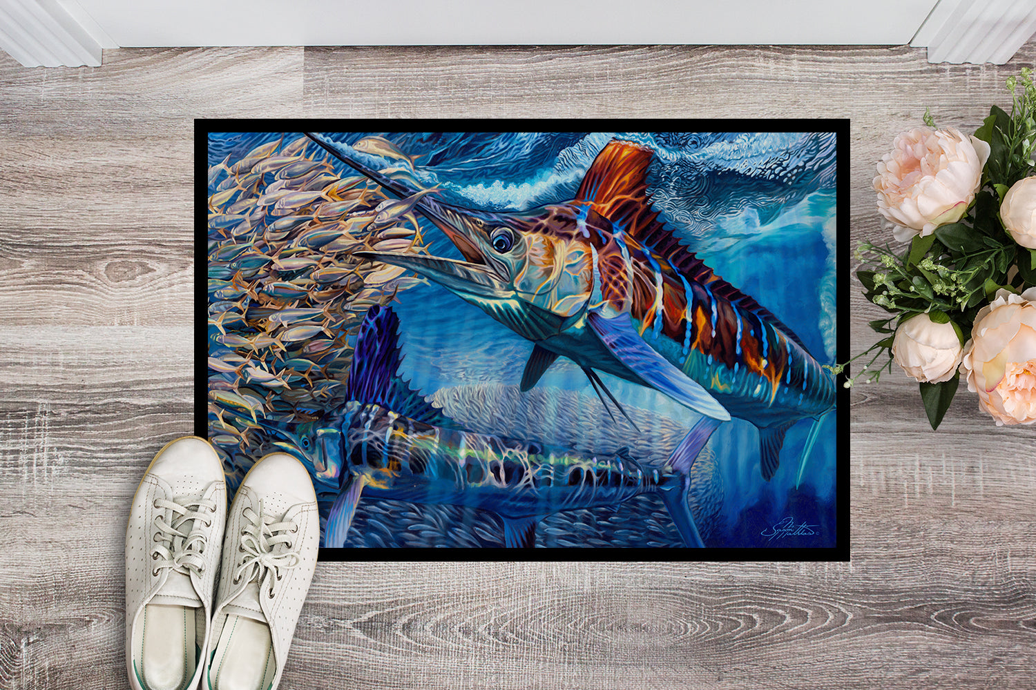 White Night White Marlin Indoor or Outdoor Mat 18x27 JMA2008MAT by Caroline's Treasures