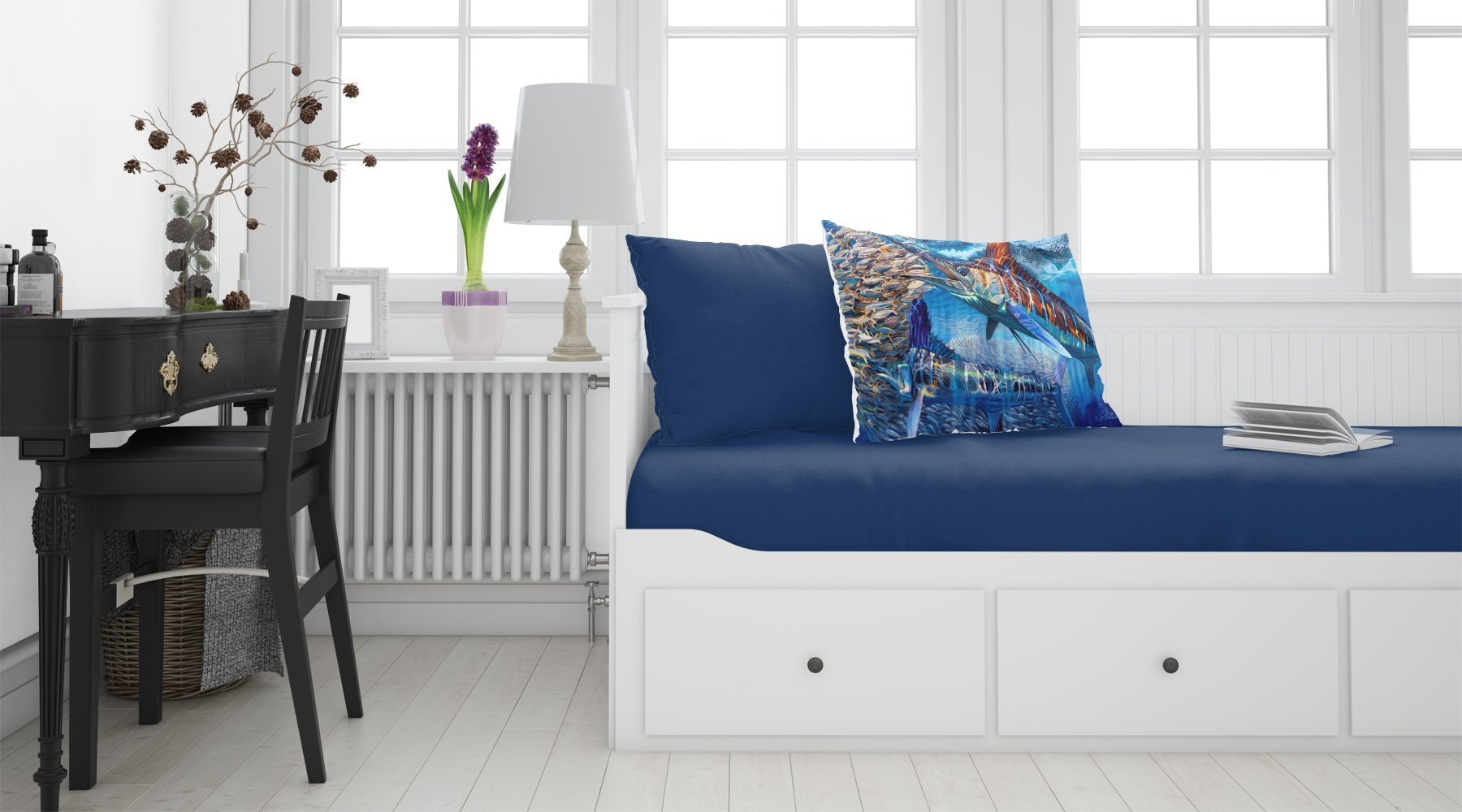 White Night White Marlin Fabric Standard Pillowcase JMA2008PILLOWCASE by Caroline's Treasures