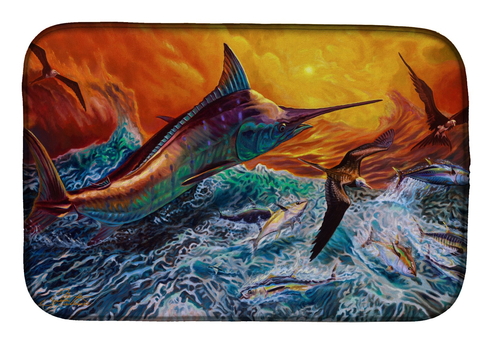 Buy this Reflective Chaos Blue Marlin Dish Drying Mat JMA2012DDM