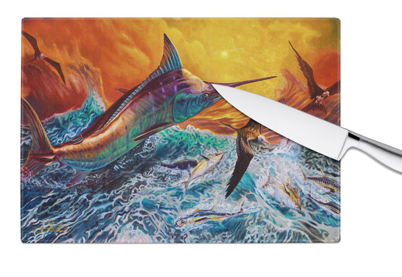 Buy this Reflective Chaos Blue Marlin Glass Cutting Board Large JMA2012LCB