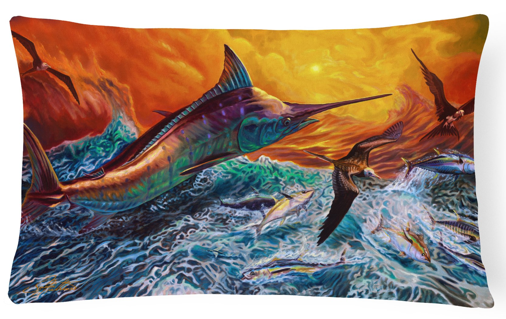Buy this Reflective Chaos Blue Marlin Canvas Fabric Decorative Pillow JMA2012PW1216
