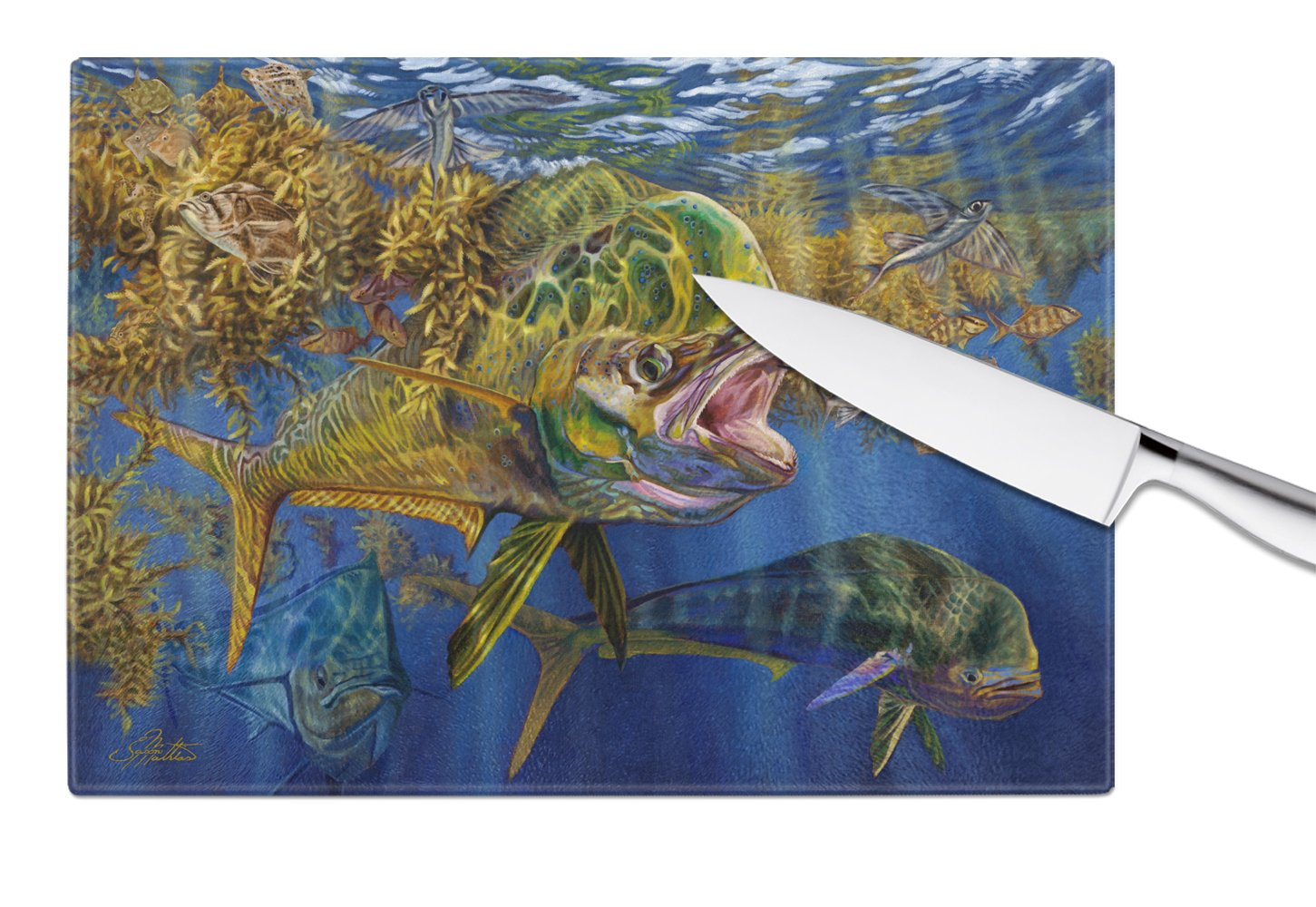 Seaweed Salad Mahi Glass Cutting Board Large JMA2013LCB by Caroline's Treasures