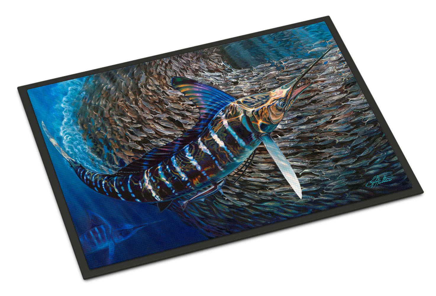 Striped Gem Striped Marlin Indoor or Outdoor Mat 18x27 JMA2014MAT by Caroline's Treasures