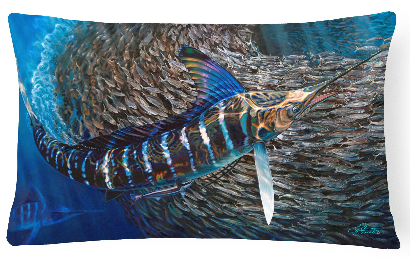 Buy this Striped Gem Striped Marlin Canvas Fabric Decorative Pillow JMA2014PW1216