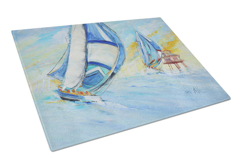 Buy this Sailboats and Middle Bay Lighthouse Glass Cutting Board Large JMK1005LCB