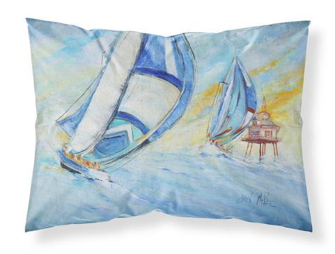 Buy this Sailboats and Middle Bay Lighthouse Fabric Standard Pillowcase JMK1005PILLOWCASE