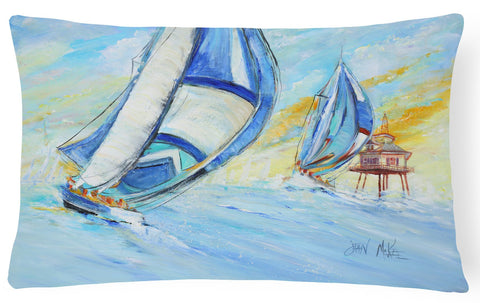 Buy this Sailboats and Middle Bay Lighthouse Canvas Fabric Decorative Pillow