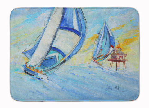 Buy this Sailboats and Middle Bay Lighthouse Machine Washable Memory Foam Mat JMK1005RUG