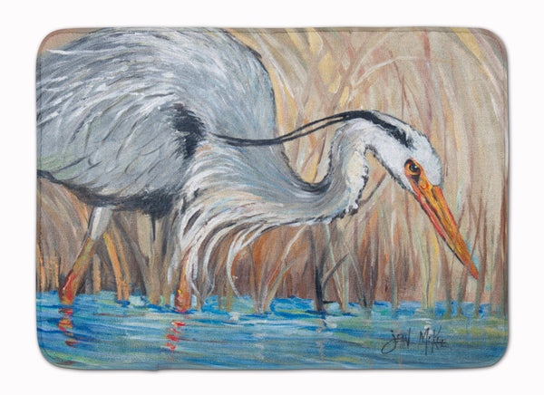 Blue Heron In The Reeds Machine Washable Memory Foam Mat