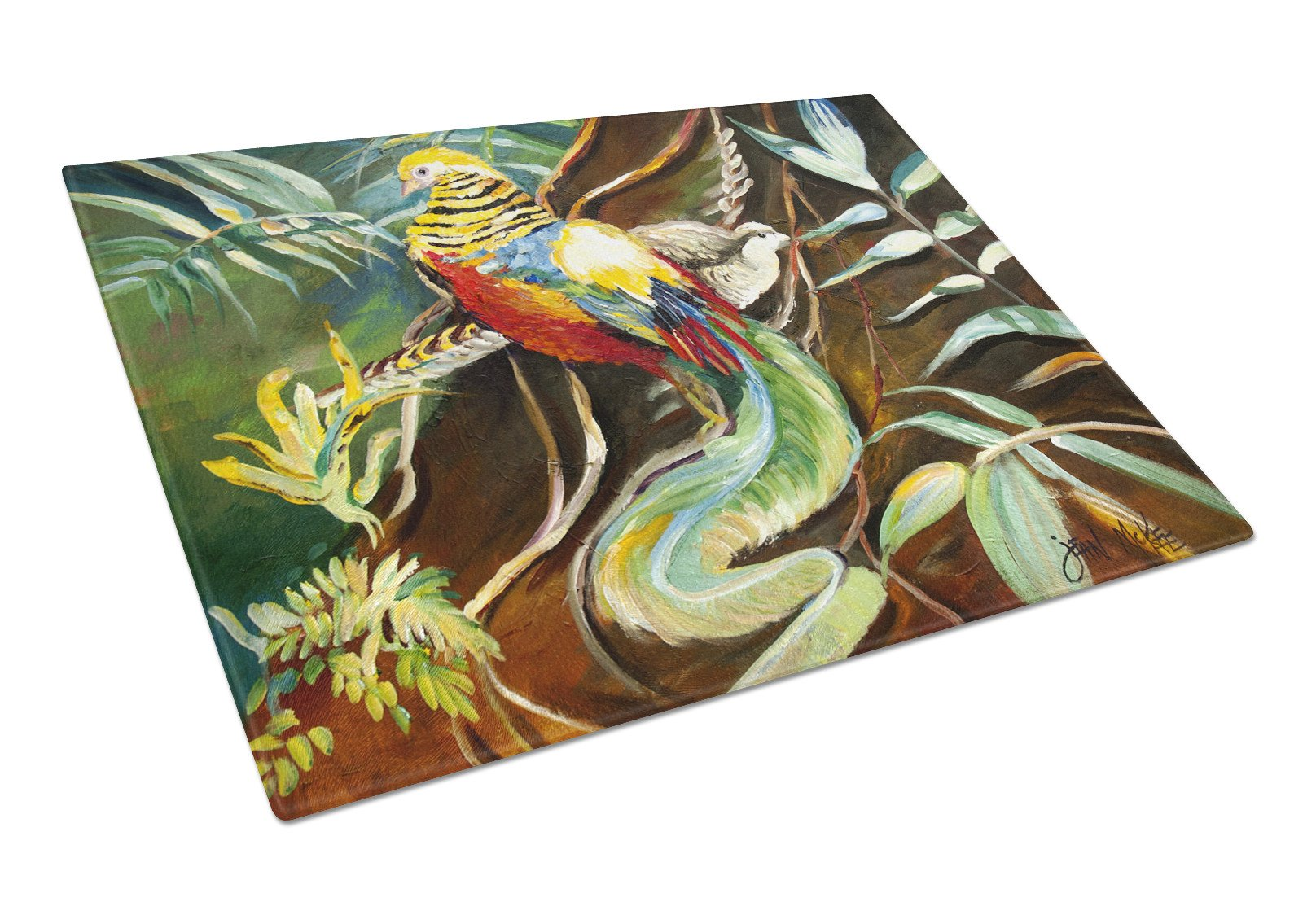 Buy this Mandarin Pheasant Glass Cutting Board Large JMK1014LCB