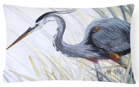 Buy this Blue Heron Frog hunting Canvas Fabric Decorative Pillow JMK1017PW1216