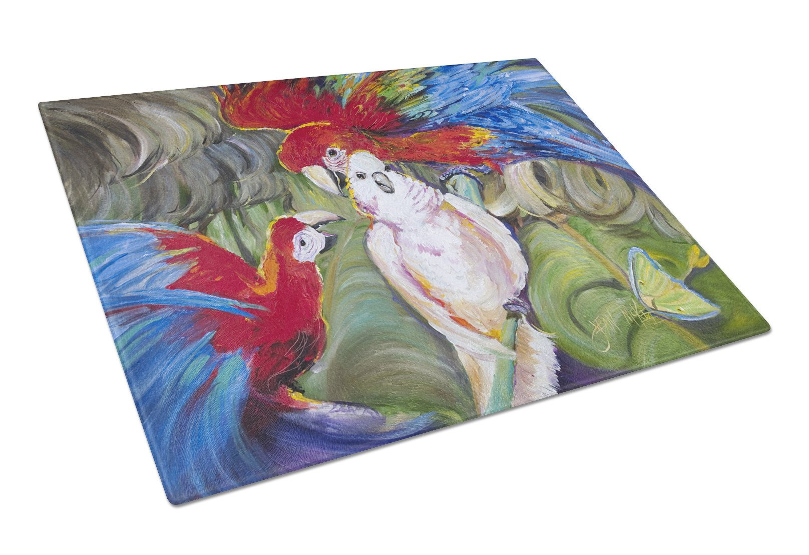 Menage-a-trois Parrots Glass Cutting Board Large JMK1018LCB by Caroline's Treasures