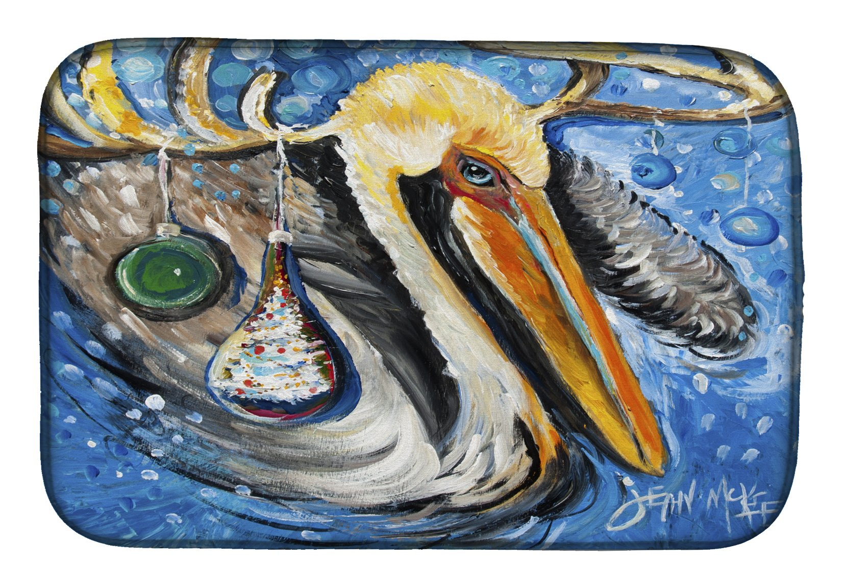 Buy this Pelican Dressed as a Reindeer Dish Drying Mat JMK1020DDM