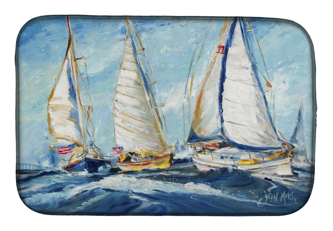 Buy this Roll me over Sailboats Dish Drying Mat JMK1027DDM