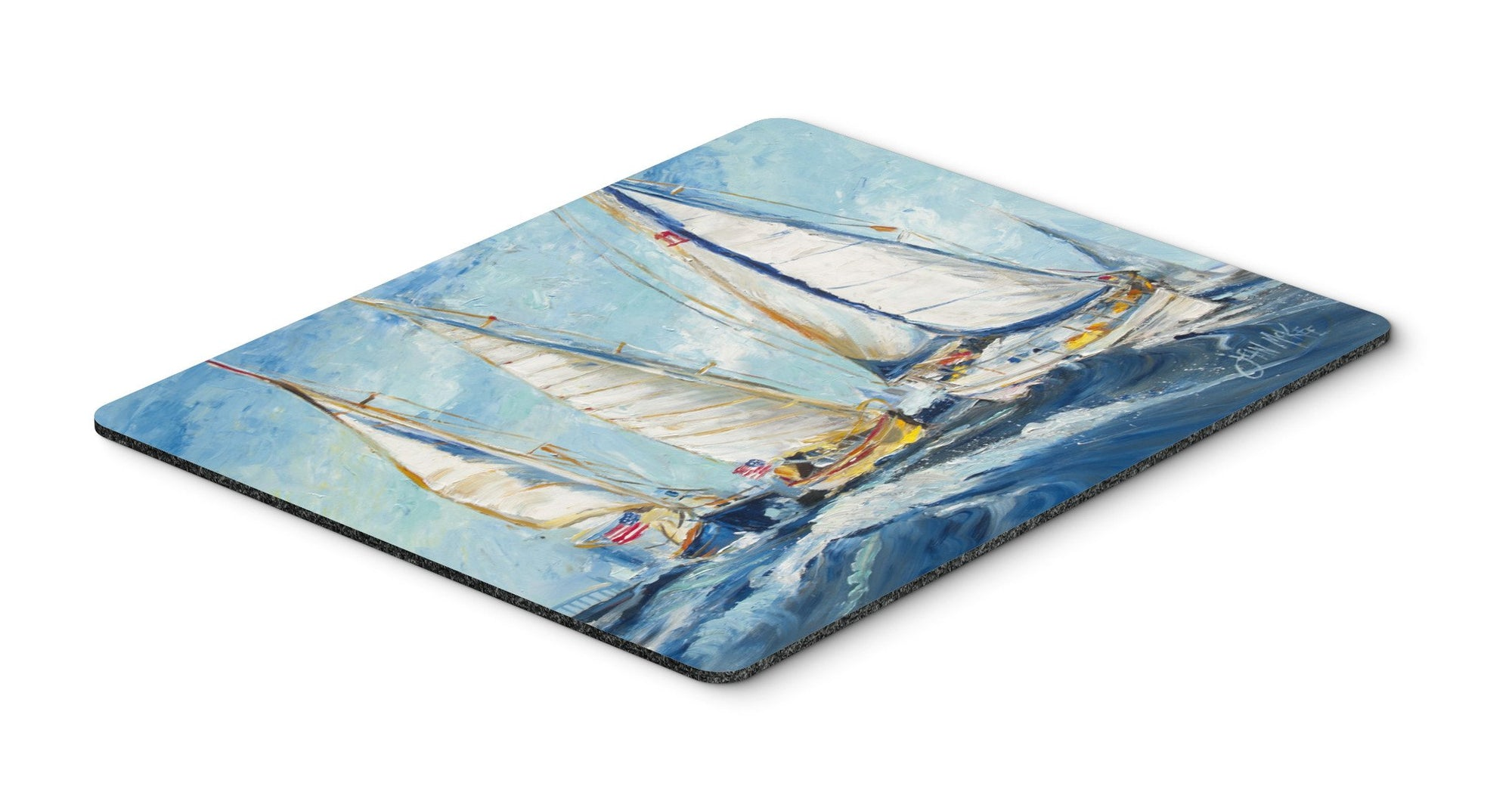 Roll me over Sailboats Mouse Pad, Hot Pad or Trivet JMK1027MP by Caroline's Treasures