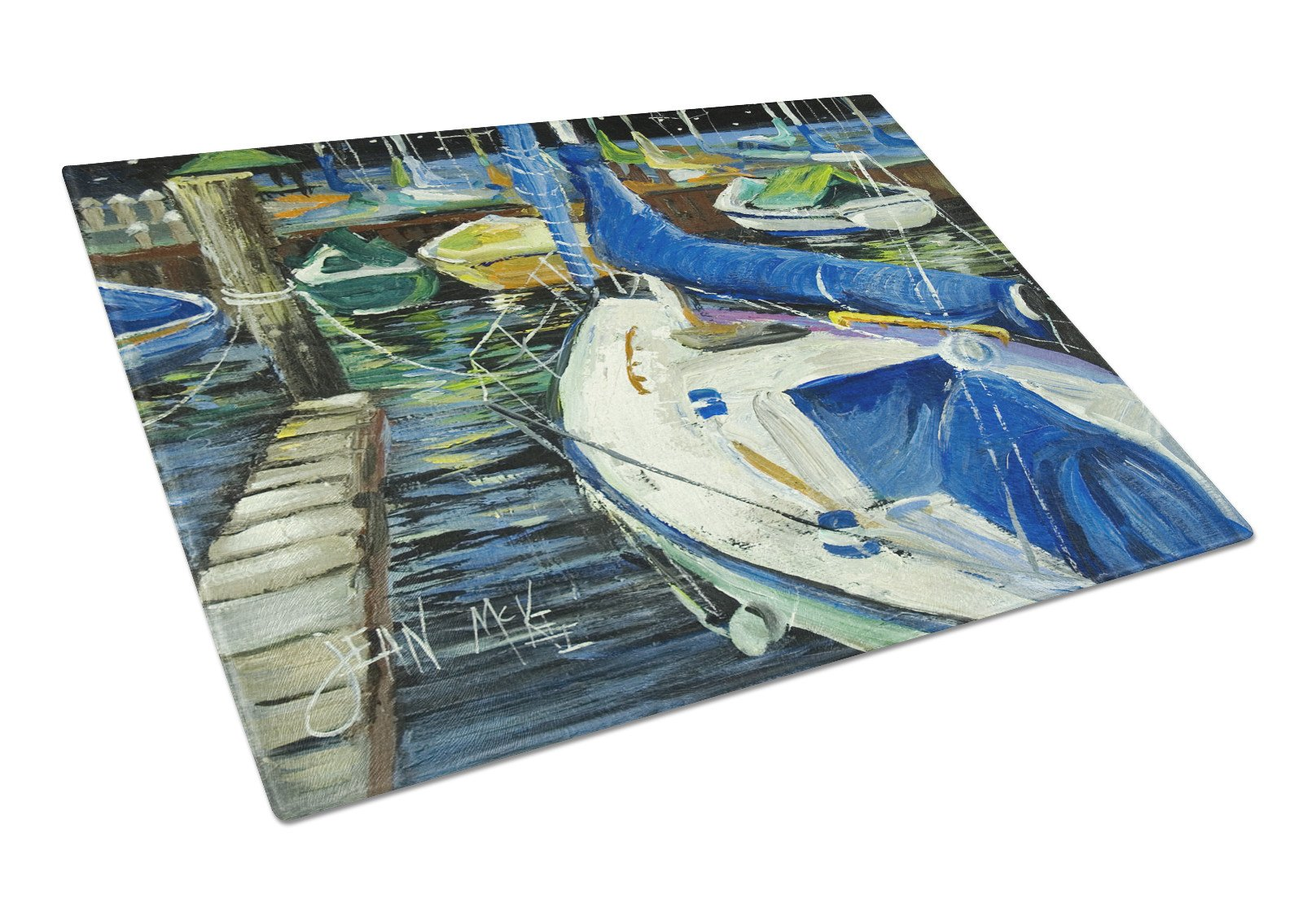 Buy this Night on the Docks Sailboat Glass Cutting Board Large JMK1031LCB